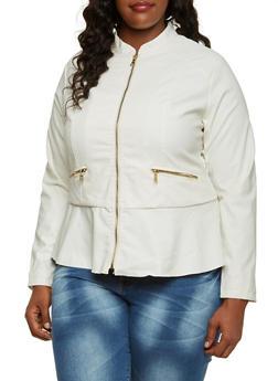 Plus Size Faux Leather Peplum Jacket - 3887051064715