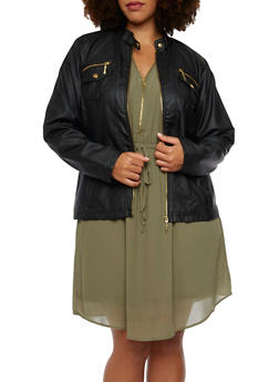 Plus Size Faux Leather Moto Jacket - 3887051065083