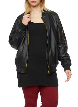 Plus Size Faux Leather Bomber Jacket with Quilted Lining - 3887051065100