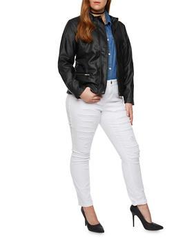 Plus Size Faux Leather Jacket with Moto Paneling - 3887051065200