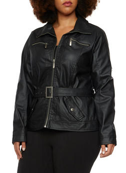 Plus Size Faux Leather Belted Moto Jacket - 3887051065381