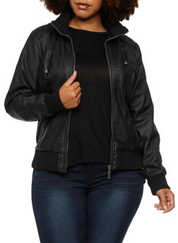 Plus Size Hooded Bomber Jacket in Faux Leather - 3887051065400