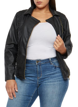 Plus Size Ruched Faux Leather Side Zip Jacket - 3887051065635