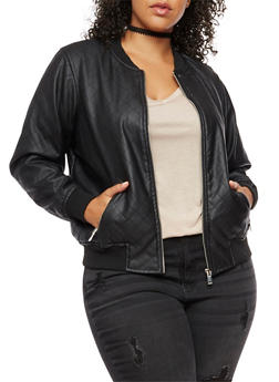Plus Size Faux Leather Quilted Bomber Jacket - 3887051065861