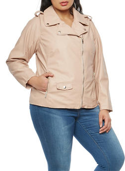 Plus Size Faux Leather Moto Jacket - 3887051066086
