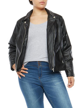 Plus Size Faux Leather Moto Jacket - 3887051066204