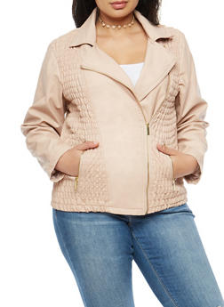 Plus Size Ruched Front Faux Leather Jacket - 3887051066350
