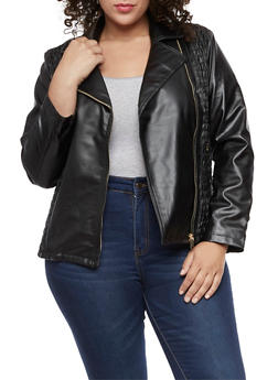 Plus Size Ruched Faux Leather Moto Jacket - 3887051066408