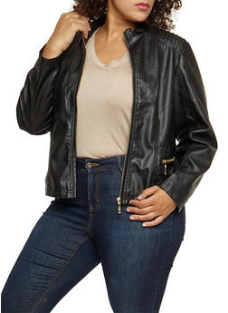 Plus Size Faux Leather Zip Up Jacket - 3887051066409