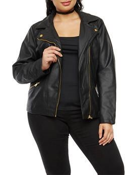 Plus Size Faux Moto Leather Jacket - 3887051066411