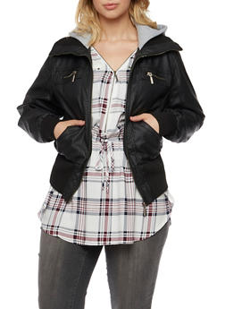Plus Size Faux Leather Jacket with Fleece Hood - 3887051066872