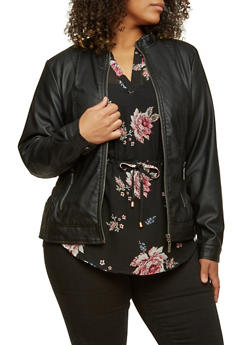 Plus Size Faux-Leather Motorcycle Jacket with Ruching - 3887051067000