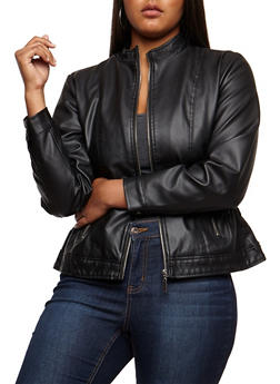 Plus Size Faux Leather Ruched Jacket - BLACK - 3887051067207