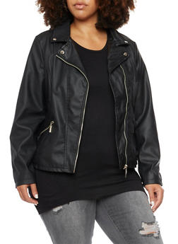 Plus Size Faux Leather Moto Jacket - 3887051067210