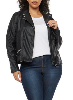 Plus Size Faux Leather Jacket - 3887051067240