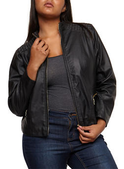 Plus Size Stitched Shoulders Faux Leather Jacket - BLACK - 3887051067291