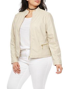 Plus Size Stitched Shoulders Faux Leather Jacket - BUFF - 3887051067291