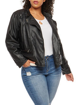 Plus Size Sherpa Lined Moto Jacket - 3887051067412