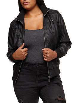 Plus Size Faux Leather Hooded Jacket - BLACK - 3887051067415