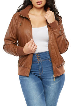 Plus Size Faux Leather Hooded Jacket - 3887051067415