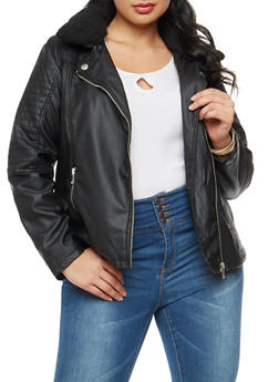 Plus Size Faux Leather Moto Jacket - 3887051067498