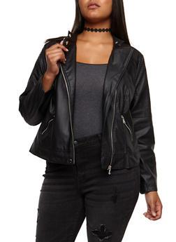Plus Size Stitched Faux Leather Jacket - BLACK - 3887051067573