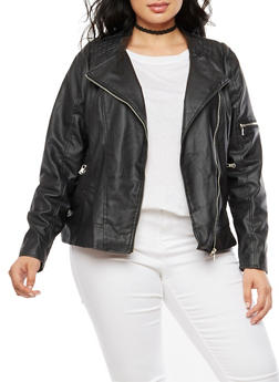 Plus Size Faux Leather Stitched Moto Jacket - 3887051067582
