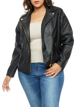 Plus Size Faux Leather Quilted Trim Jacket - 3887051067584