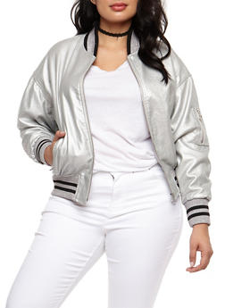 Plus Size Faux Leather Metallic Bomber Jacket - 3887051067594