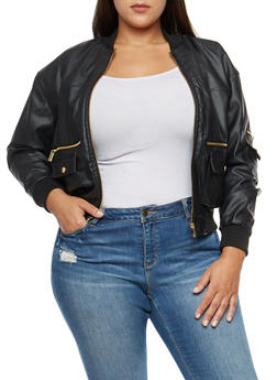 Plus Size Faux Leather Jacket - 3887051067599