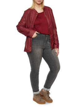 Plus Size Faux Leather Jacket with Moto Shoulders - 3887051067731
