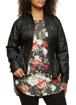 Plus Size Faux Leather Jacket with Smocked Sides - 3887051069260