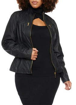 Plus Size Faux Leather Jacket with Smocked Sides - 3887051069261