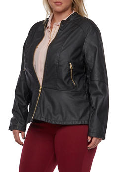 Plus Size Faux Leather Peplum Jacket - 3887051069680