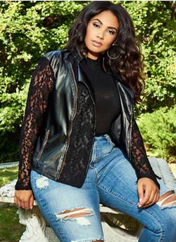 Plus Size Faux Leather Lace Moto Jacket - 3887074002171