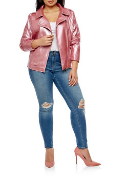 Plus Size Metallic Asymmetrical Zip Jacket - 3887074002225