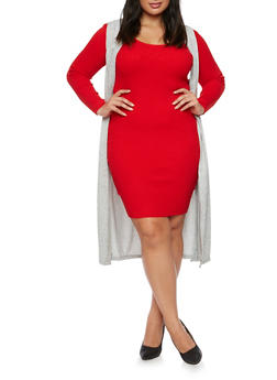 Plus Size Sleeveless Knit Duster - 3910038341208