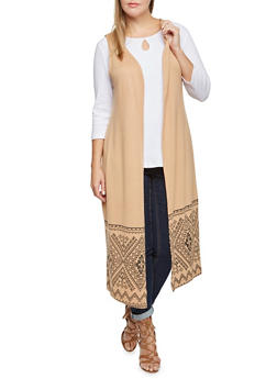Plus Size Duster Cardigan with Ikat Hem - 3910038341209