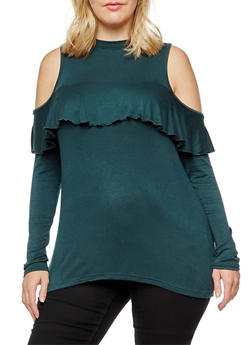 Plus Size Long Sleeve Cold Shoulder Ruffled Top - 3910038342131