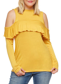 Plus Size Long Sleeve Cold Shoulder Ruffled Top - MUSTARD - 3910038342131
