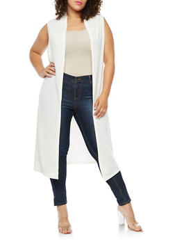 Plus Size Sleeveless Hooded Duster - IVORY - 3910038342153