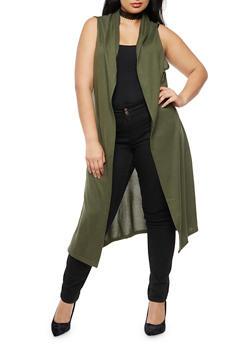 Plus Size Sleeveless Hooded Duster - OLIVE - 3910038342153