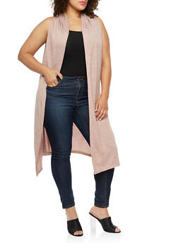 Plus Size Sleeveless Hooded Duster - 3910038342153
