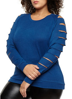 Plus Size Slashed Long Sleeve Top - 3910038342154