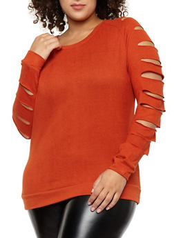 Plus Size Slashed Long Sleeve Top - 3910038342154