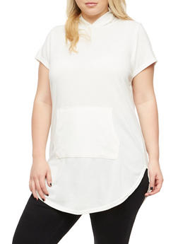 Plus Size Short Sleeve Hooded Top - IVORY - 3910038342155