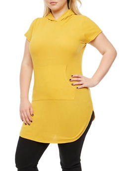Plus Size Short Sleeve Hooded Top - 3910038342155
