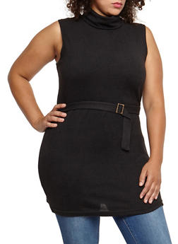 Plus Size Sleeveless Belted Turtleneck Tunic Top - 3910038342157