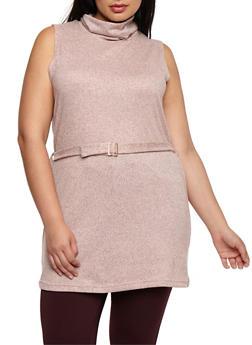 Plus Size Sleeveless Belted Turtleneck Tunic Top - 3910038342157