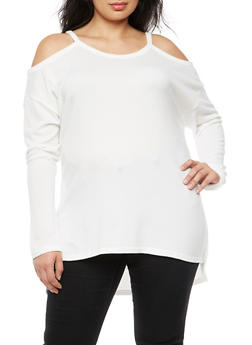 Plus Size Cold Shoulder High Low Top - 3910038342162